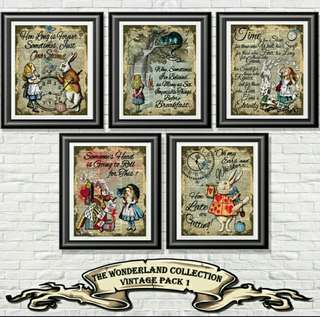 Antique dictionary 5 x Alice in Wonderland Collection