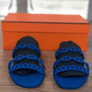 Auth Hermes Blue Smalt Rivage Jelly Sandals