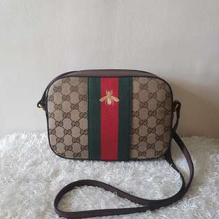 Authentic GUCCI Brown Leather Trimmed Canvas Bee Web Stripe Cross Body Bag