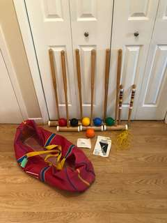 Vintage Adults Forster Six Player Wood Croquet Set with Bag