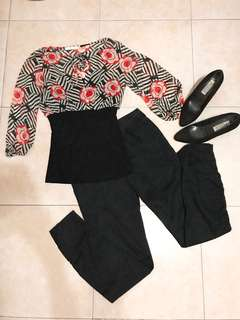 Bundle - floral top + black pants