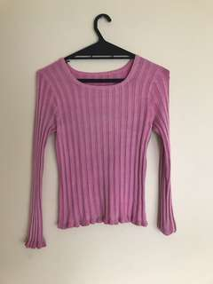 Pink Ribbed Top with lettuce hem