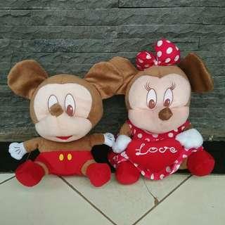 (Sepaket) Boneka Mickey mouse & Minnie mouse ⛔NO NEGO NO FREE ONGKIR⛔
