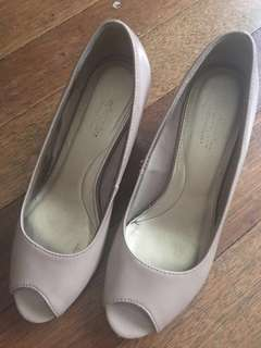 Payless Nude Patent Open Toe Wedge Heels, Size 8