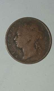 1901 Straits settlements Queen Victoria quater cents