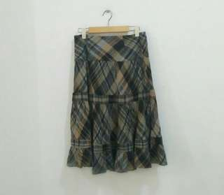 Zara Plaid Flare Skirt