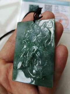 精工关公牌(缅甸翡翠A货)Burmese Jade pendant
