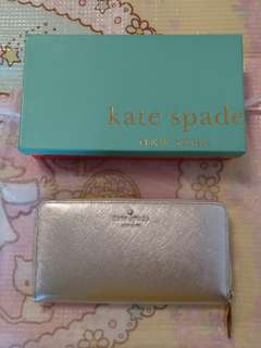 全新Kate Spade Wallet 銀色長銀包