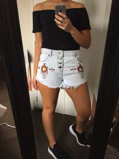 Tribal denim shorts