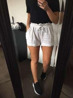 Beige linen shorts