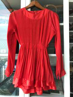 Red Pleats Top
