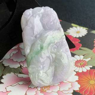 A-Grade Type A Natural Lavender and Green Jadeite Jade Lotus Leaf Koi Fish Pendant No.170457