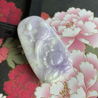 A-Grade Type A Natural Lavender and Green Jadeite Jade Pendant No.170456