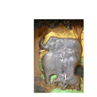 Vintage wall plague elephant family retired circa 1960s unused from old stock