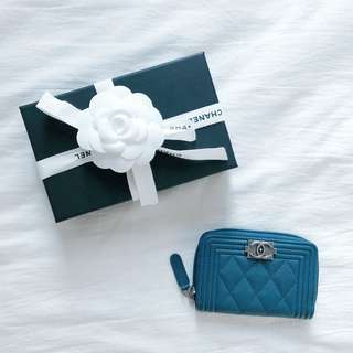 CHANEL Boy Zip Around Card Holder