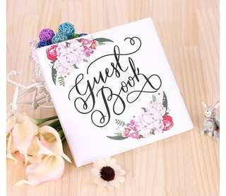 [PO] Wedding Guest Book Floral Satin Hardcover