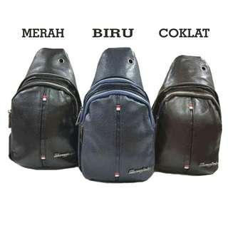 Tas selempang crossback l sling bag cowok tas kecil pria tas mini pu leather dompet cowok tas kartu