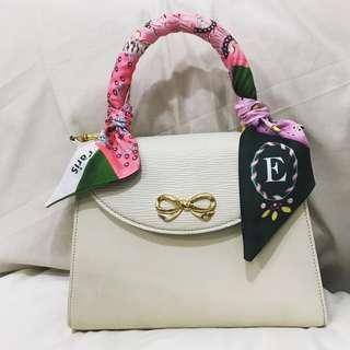 Hanae mori epi top handle bag with detachable strap