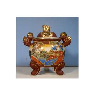 Vintage Japanese porcelain incense burner foo dogs hand painting circa 1930s