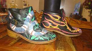 Unique handpainted designer bohemian luxe boots- size 39