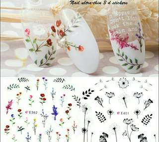 BNIP Small Wild flowers red pink purple yellow nail stickers nail art nail decals