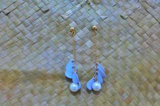 Baby blue drop pearl earrings