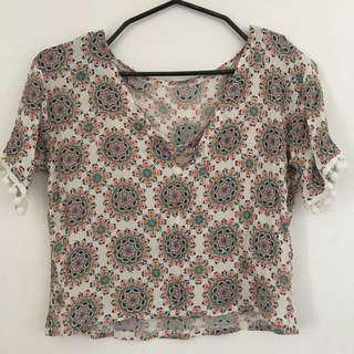 Boho Top with Pompoms
