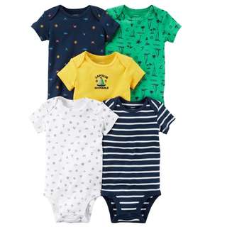 🚚 BN 6m/9m/12m/18m Carters 5-Pack Short-Sleeve Original Bodysuits Captain