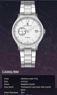 Catena~ Swiss Made,  瑞士製機械男錶。 全新, 有吊牌及附上原裝錶盒。 適合追求完美人仕。