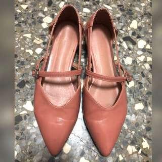 🚚 暗橘 氣質尖頭低跟鞋24.5