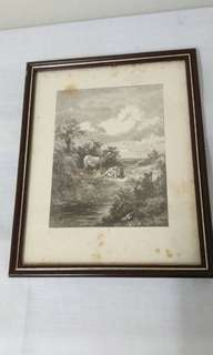 Antique print scenery framed