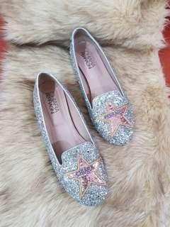 Authentic Chiara Ferragni Silver Glittery Slip On Shoes Size 8