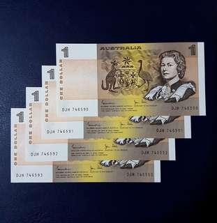 🇦🇺 *UNC* 1982 Australia $1 Paper Banknote~4pcs Consecutive S/N