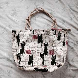 Cat tote bag in canvass