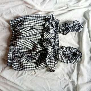 BLACK GINGHAM CROPPED TOP