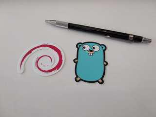 Stickers for programming languages, Golang Go and Debian Linux