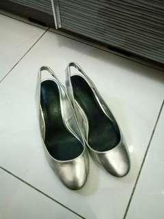 Bershka silver block heels