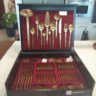 Herdmar 24 kts gold plated utensils set
