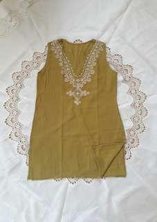 Boho Olive Green Sleeveless Blouse