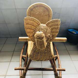 Rattan Rocking Elephant Chair