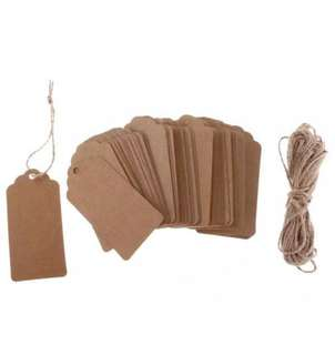 100Pc Kraft Paper Tags Hanging Labels Brown Hemp Roap