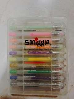 Smiggle 24 pc set coloured gel pens
