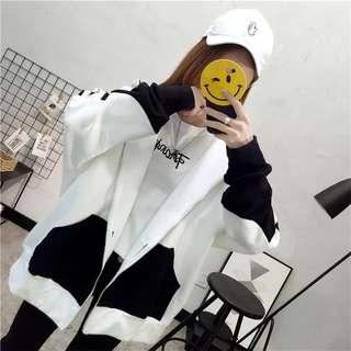 🚚 (特價)韓版休閒連帽外套加絨棒球外套夾克