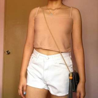 Nude crop top + White denim high-waisted shorts