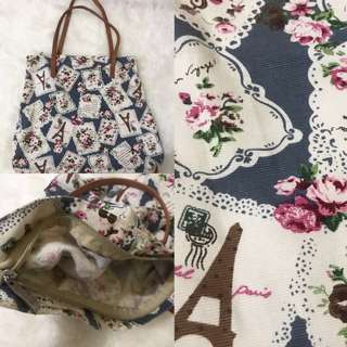 Tote bag flower with zipper