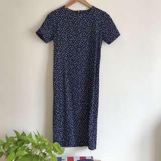 Vintage Dark Blue With White Yellow Polka Midi Dress