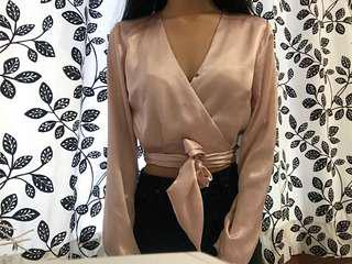 FREE SHIPPING Satin tie up top