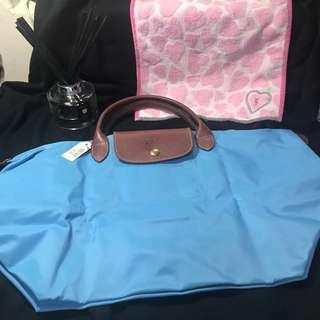 🚚 Longchamp 天空藍 短把中型手袋