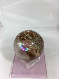 黃幽靈髮晶共生水晶球帶彩虹 36mm