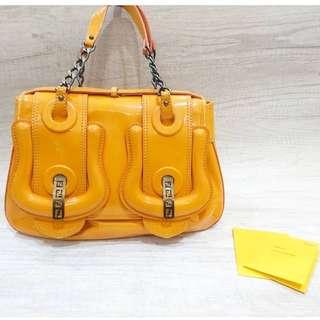 Preloved Authentic Fendi Papaya B Bag Patent Leather 2010